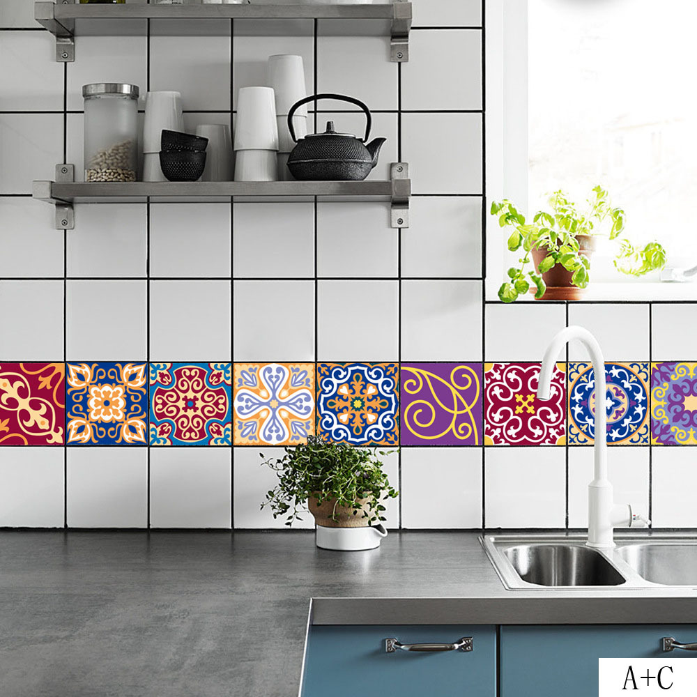 20*100cm DIY Mosaic Decal Wall Tiles Stickers Self Adhesive Waist ...