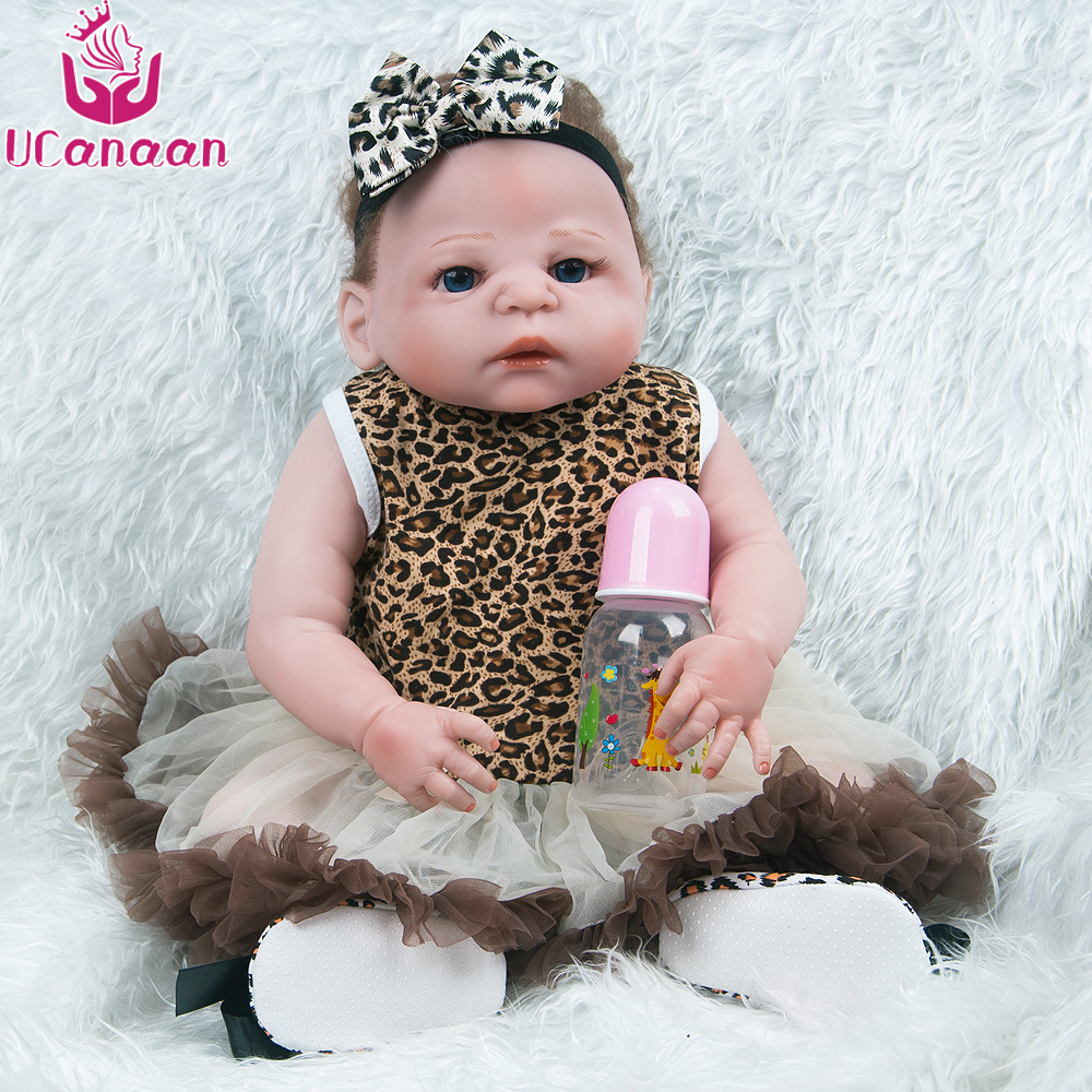 UCanaan Silicone Reborn Baby Doll 50-55CM Lifelike Babies Soft Full Vinyl Baby Fashion Dolls Reborn doll Toys for Children ucanaan reborn baby dolls realistic soft cloth body handmade lifelike reborn babies doll toys baby sleeping partners 50 55cm