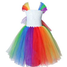 Детское Радужное платье-пачка для девочек; нарядное детское платье принцессы с лошадью; нарядные платья для девочек на Рождество, Хэллоуин; костюмы с пони