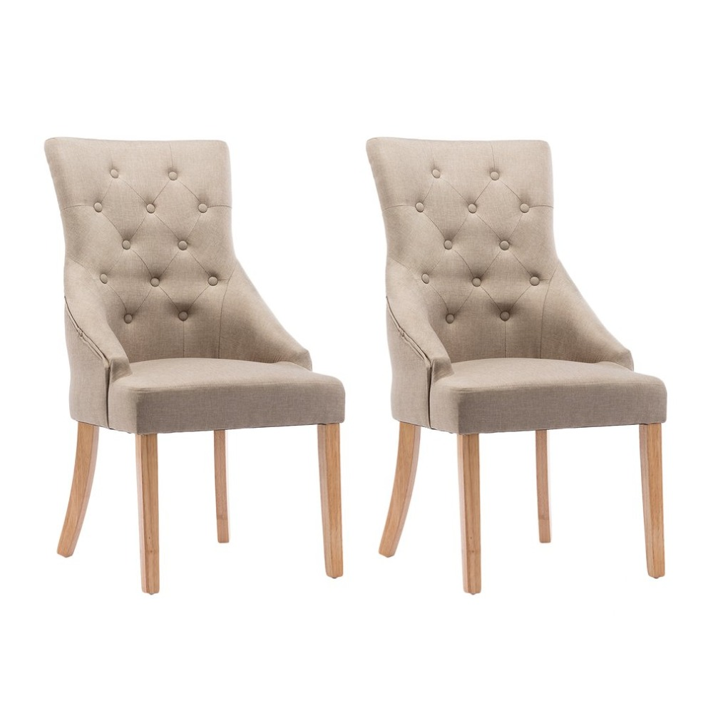 2 PCS Linen Fabric Soild Wood Dining Chairs High Back Office Lounge Chair Padded Seat Home Stool Kitchen Furniture excellent quality simple modern stools fashion fabric stool home sofa ottomans solid wood fine workmanship chair furniture
