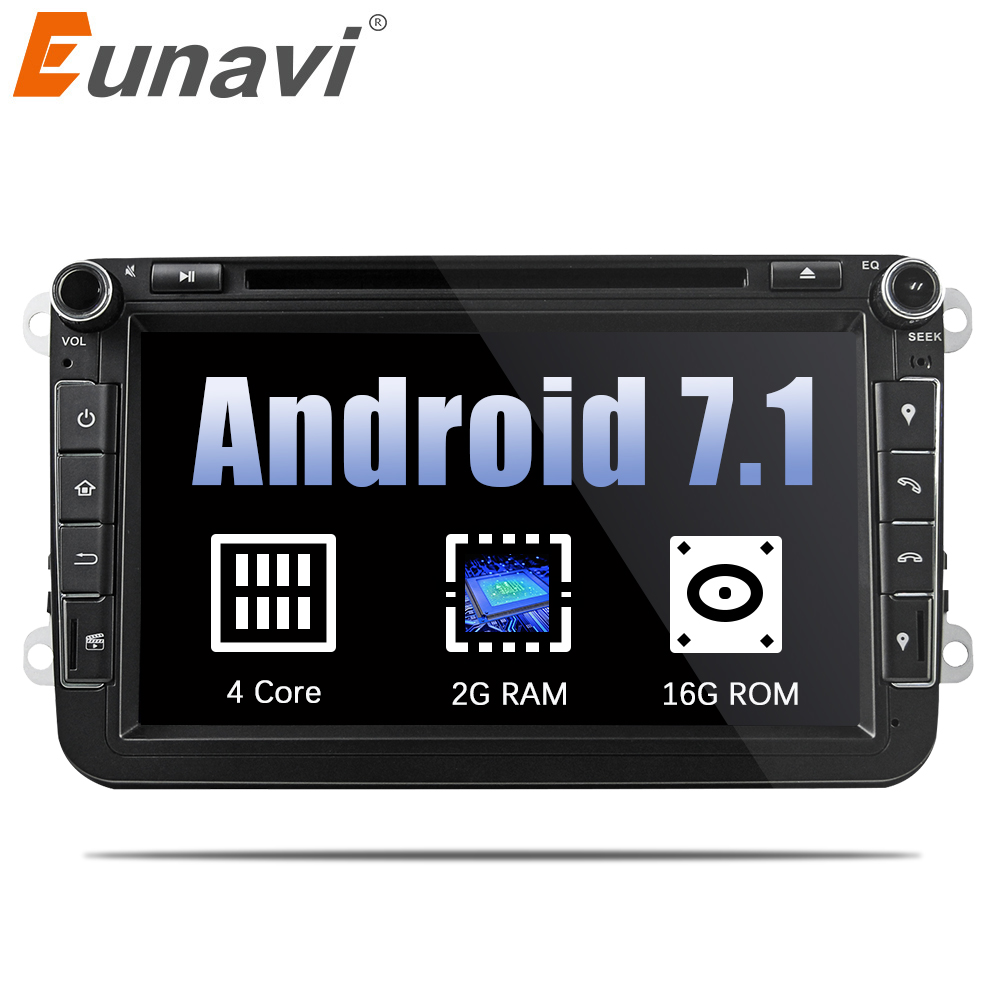 Eunavi 8'' Quad Core 2 Din Android 7.1 Car DVD Player For VW JETTA Tiguan Passat B6 Touran Caddy Amarok Golf EOS GPS Navi Radio