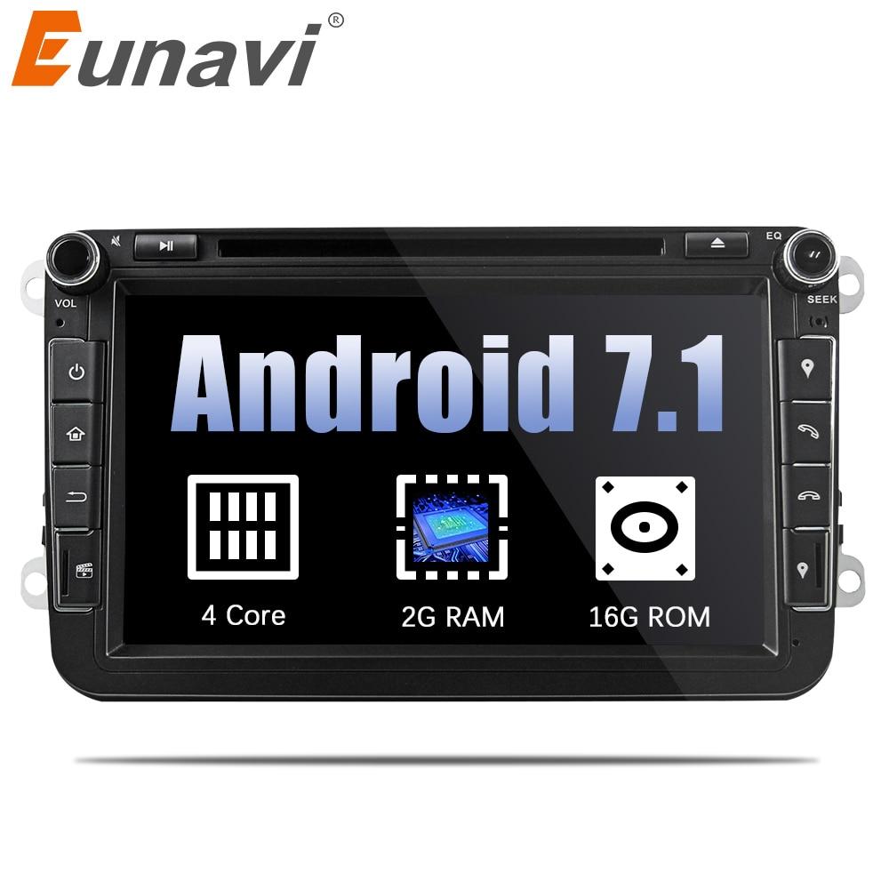 Eunavi 8 ''Quad Core 2 Din Android 7.1 Lecteur DVD de Voiture Pour VW JETTA Tiguan Passat B6 Touran Caddy amarok Golf EOS GPS Navi Radio