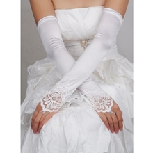 2019 Opera Length Womens Long Gloves Fingerless Embroidery Lace Trim Beaded Sequins Bridal Wedding Accessory