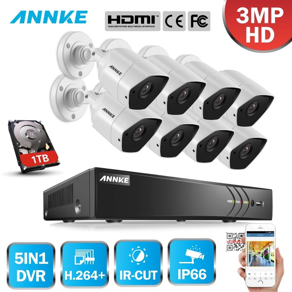 ANNKE Full HD 8CH 3MP 5in1 CCTV Système De Caméra De Sécurité IR Vision Nocturne Extérieure Imperméable 3MP Kit De Vidéosurveillance h.264 +