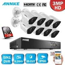 ANNKE Full HD 8CH 3MP 5in1 CCTV Системы безопасности Камера ИК-Ночное видение открытый Водонепроницаемый 3MP комплект видеонаблюдения H.264 +