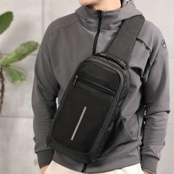 Men Sling Bag Chest Messenger Bag USB Charging Big Capacity Soft Canvas Shoulder Bags Men Pack Crossbody Vertical Square Bag