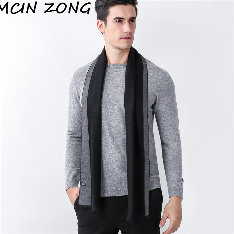 Men Scarf Winter Autumn Man Scarves Wrap Shawl Thick Men's Scarf Solid Warm Cotton Cashmere Wool Blended Knit Brushed Scarf
