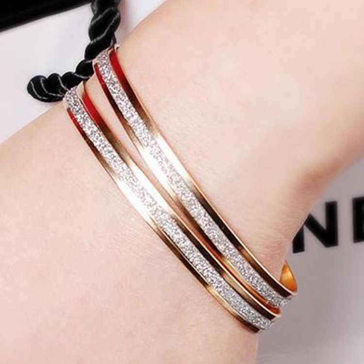2019 Trendy Crystal Bracelets for Women Silver Gold Cuff Bracelets Stainless Steel Bangles Jewelry