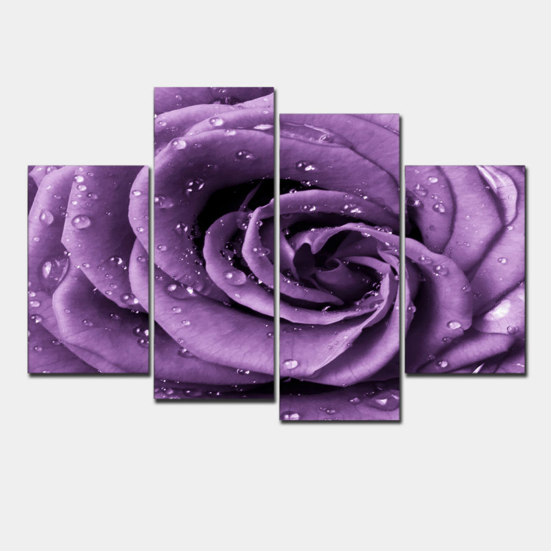 3 piece wall art white purple lover flower big perfect canvas wall art on Canvas Picture