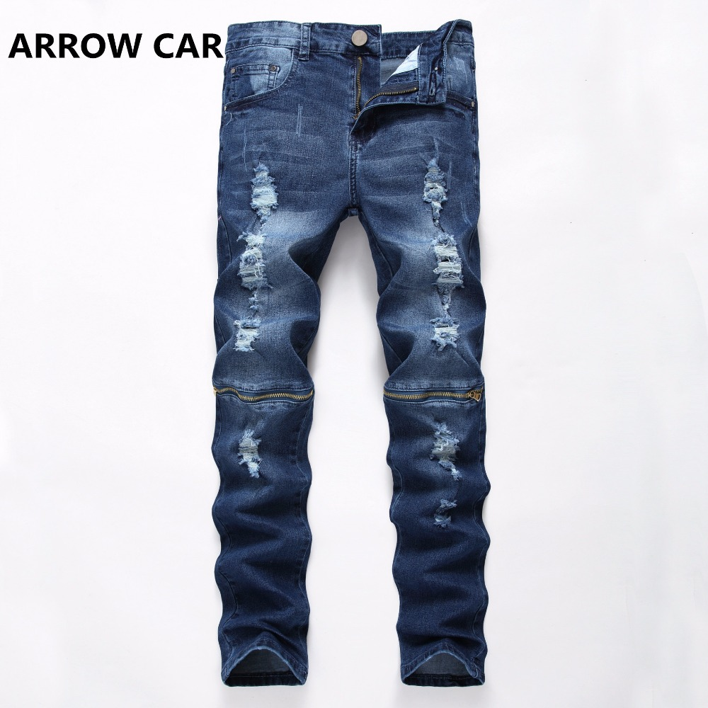 Men Jeans Stretch Slim Hole Jeans Pants Zipper Solid Full Fashion Summer Thin Section Young People Denim Pants Casual Trousers