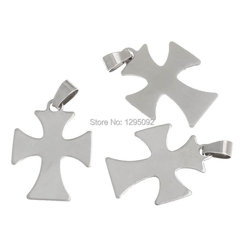 60 Pcs Hot New DIY Silver Tone Cross Charm Pendants Stainless Steel Pinch Bail Component 3.8x2.4cm Free shipping