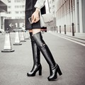 New fashion long boots women sexy high heels thigh high boots lace up platform over the knee high boots female plus size 34-44