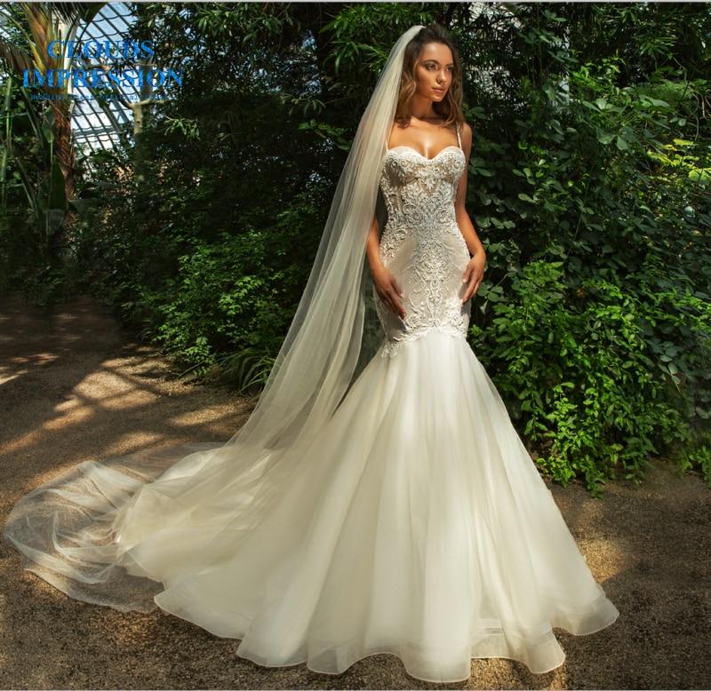 Romantic 2019 Lace Mermaid Wedding Dress Spaghetti Straps Vestige De Noiva White Gown Bridal Dresses