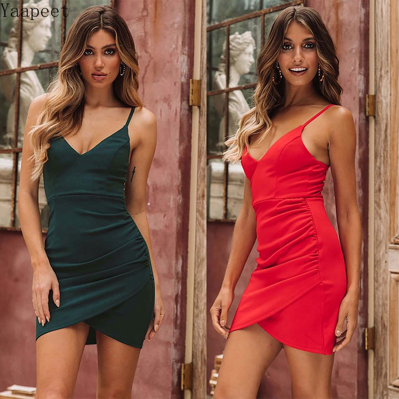 2019 Summer Women Dress Sexy Slim V neck Dresses Cross Pleated Backless Vestidos Holiday Party Club Night Short Dress in Dresses from Women 39 s Clothing