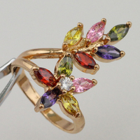 Size 6 7 8 Amazing Hot Nice Flower & Tree Multi-Color CZ Gems Ring Yellow Golden Plated Jewelry Gift For Woman MB443A