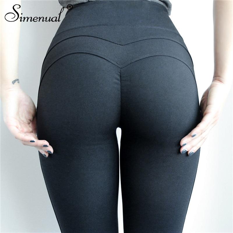 Simenual Sportswear push up leggings for fitness women clothing high waist bodybuilding legging female pants black slim jeggings