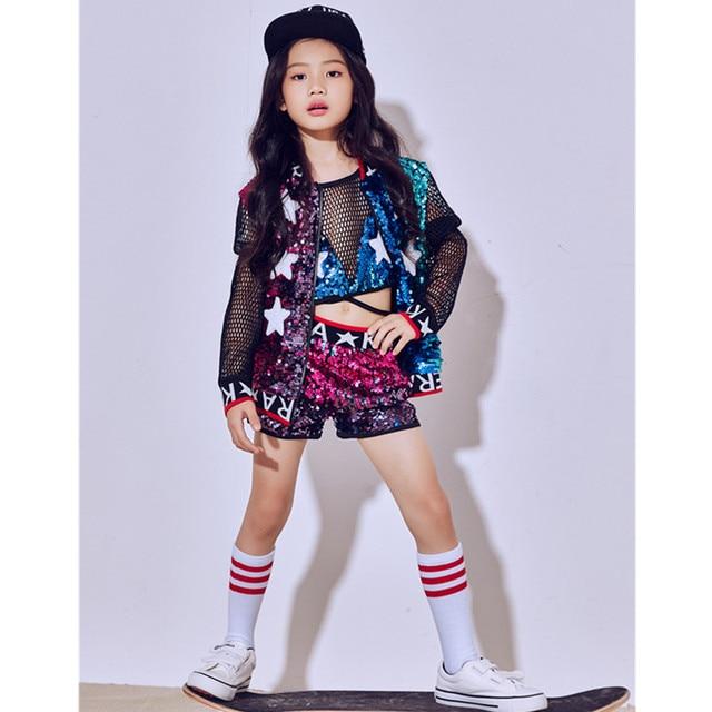 Nuevos niños lentejuelas Jazz danza rendimiento trajes niñas Hip Hop  moderno traje de baile niños ropa f25651c348e