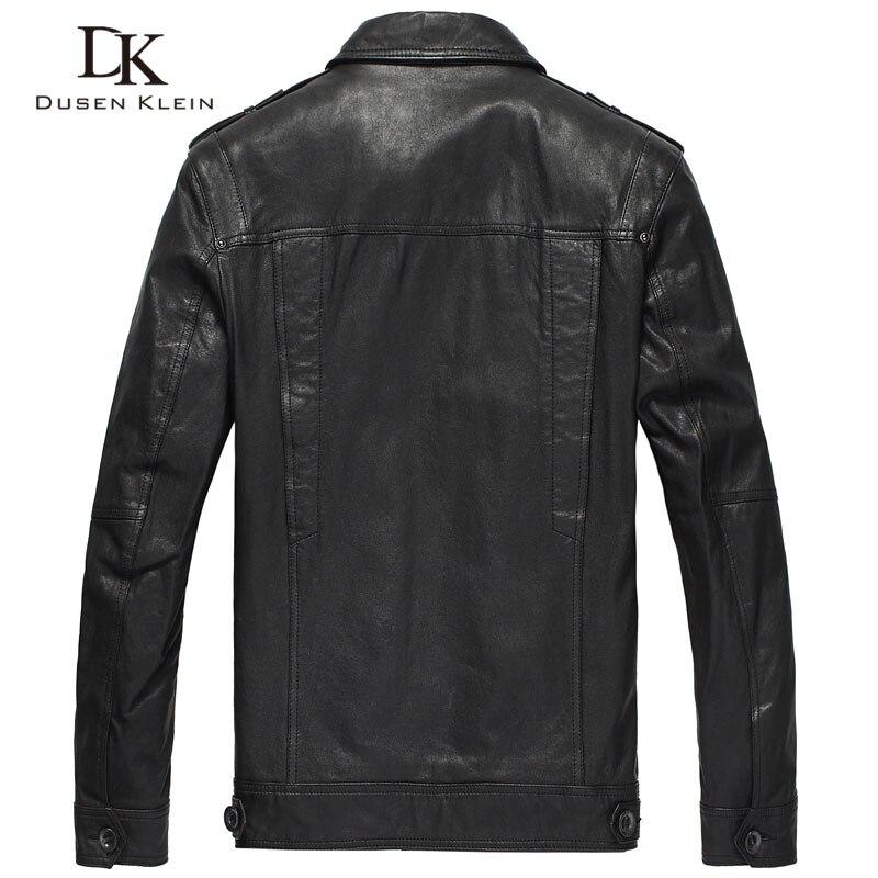 Klein Dusen skórzane kurtki mężczyźni prawdziwy kożuch szczupła projektant wiosna czarne skórzane odzież DK056 w Płaszcze ze skóry naturalnej od Odzież męska na  Grupa 2
