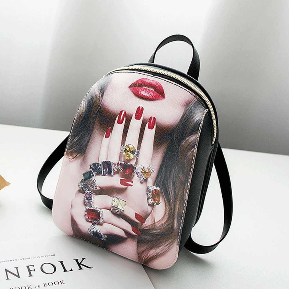 Moda Feminina Mochila PU Couro bolsa de Ombro Mini Mochila Senhoras Meninas Bolsa de Viagem