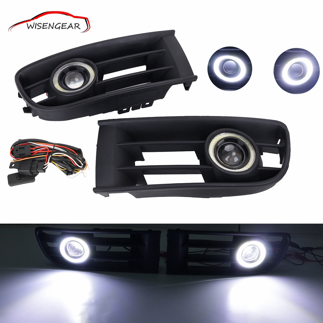 Front Bumper Fog LampGrille +LED Convex lens Fog Light +  Angel Eyes For VW 2001  2002 2003 2004 2005 Polo 9N1 C/5 for opel astra h gtc 2005 15 h11 wiring harness sockets wire connector switch 2 fog lights drl front bumper 5d lens led lamp