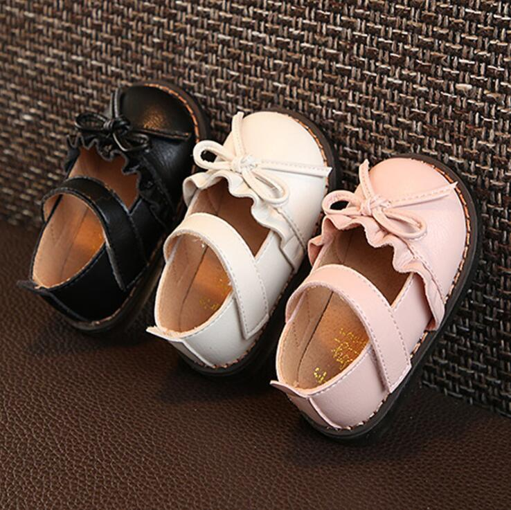 Children's leather shoes autumn new cute ruffle bow female baby soft bottom toddler shoes 0-1-3 infant princess single shoes