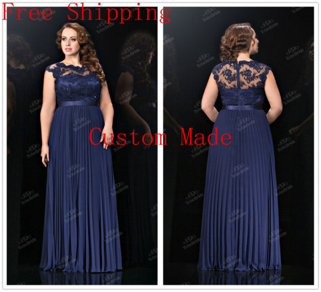 Beading Applique Navy Blue Chiffon Wedding Party Dresses 2015 Plus ...