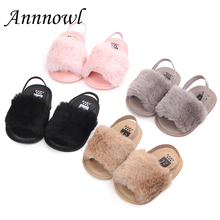 Купить с кэшбэком Princess Baby Girl Sandals Infant Soft Sole Anti-slip Summer Shoes Toddler Elastic Fur Loafers Meisje Sandalen Chaussure Fille