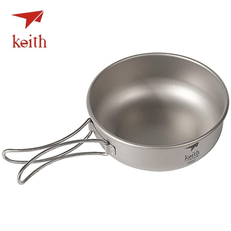 Keith 3pcs Titanium Pan Bowel Pot Set Outdoor Camping Picnic Cooking Kitchen Folding Cookware Ti6053 Sports & Entertainment Camping & Hiking