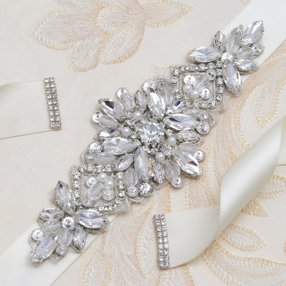 MissRDress Rhinestones Wedding Belt Beads Silver Crystal Bridal Belt Pearls Bridal Sash For Wedding Prom Dresses JK994