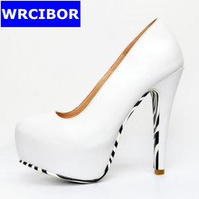 NEW 2017 Women Shoes Pumps PU leather platform pointed toe High heels Lady fashion Sexy Thin Heels high-heeled Shoes,Size 34-47