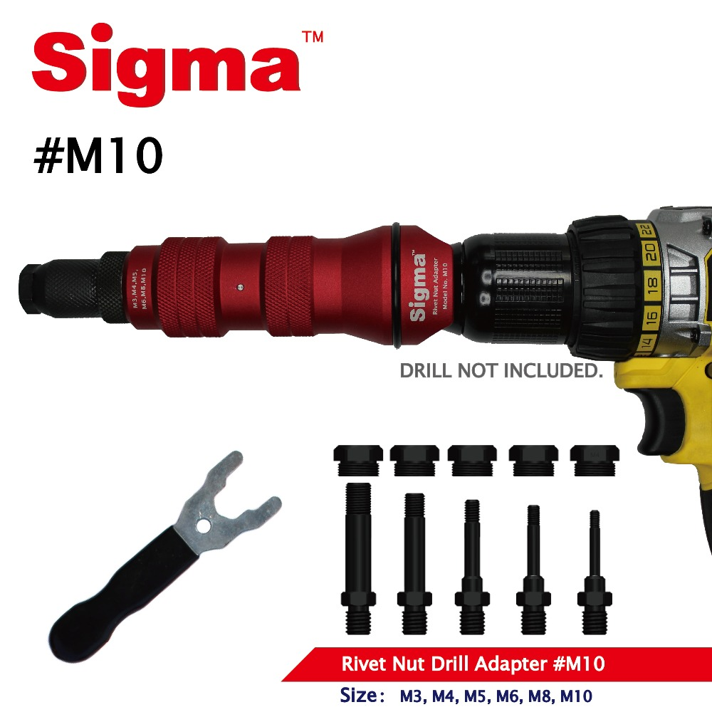 Image 2 - Sigma #M10 HEAVY DUTY Threaded Rivet Nut Drill Adapter Cordless or Electric power tool accessory alternative air rivet nut gunRiveter Guns   -