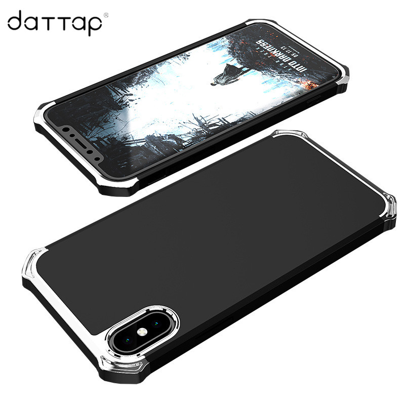 daTTap Case for Iphone X Case Luxury Aluminum Metal Frame Hard PC Back Cover for Iphone X 10 Accessories Shockproof Funda Coque