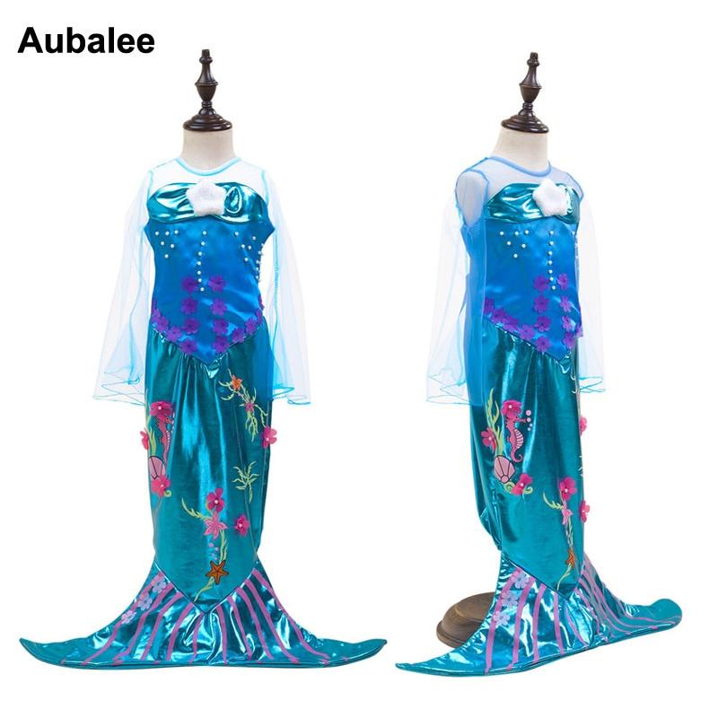 2018 Summer Mermaid Tail Cute Cartoon Graffiti Fancy Dress For Gilr Kid Little Ariel Blue Cauda De Sereia Costume Children Dress