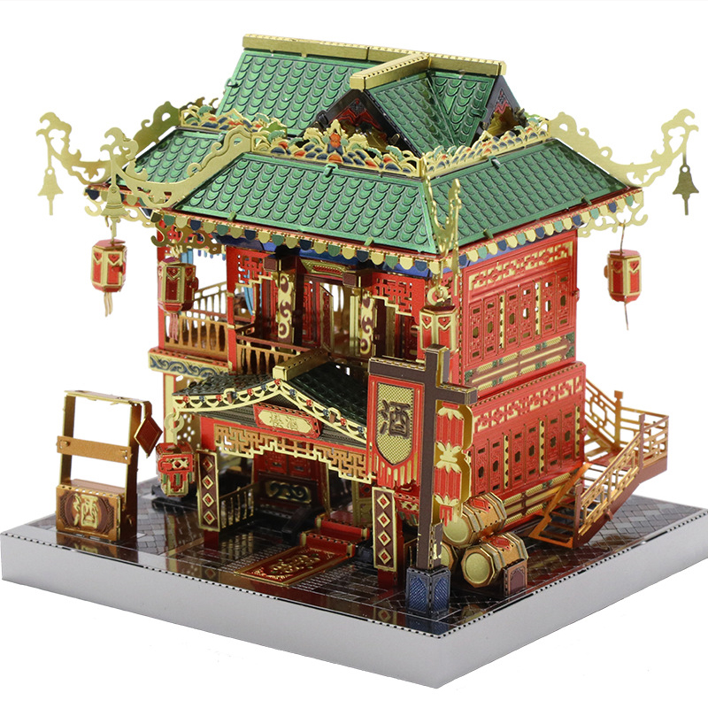 New Diy 3D Metal Puzzle Three-dimensional Manual Assembled Model Building Chinese Street Wanniantai/Drunk House Adult Kids Toys