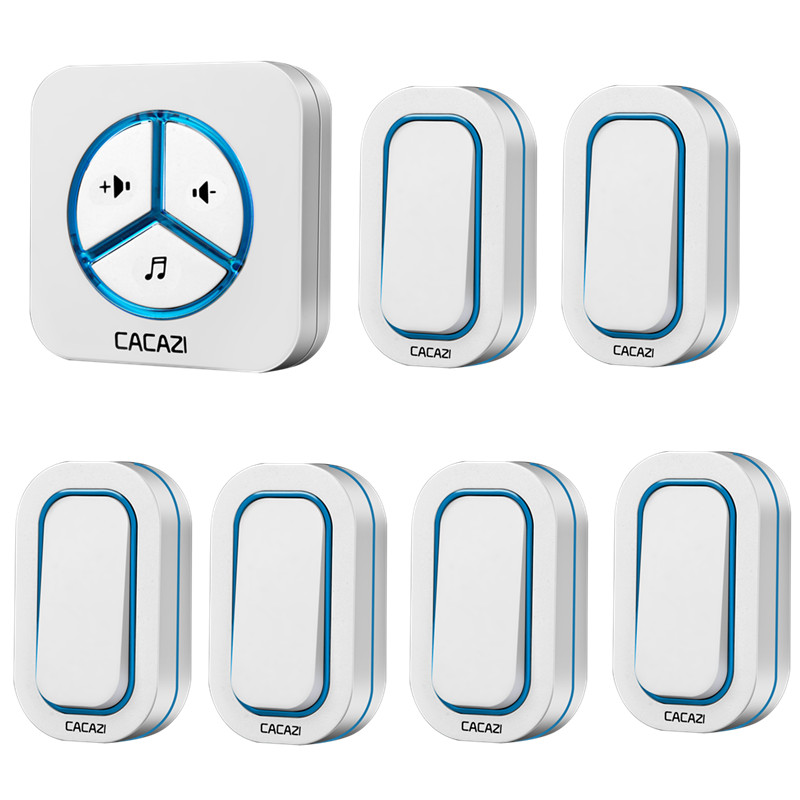 cacazi doorbell 280m remote ac 110220v useuuk plug wireless door bell 48 rings door chime 6 waterproof buttons1 receiver