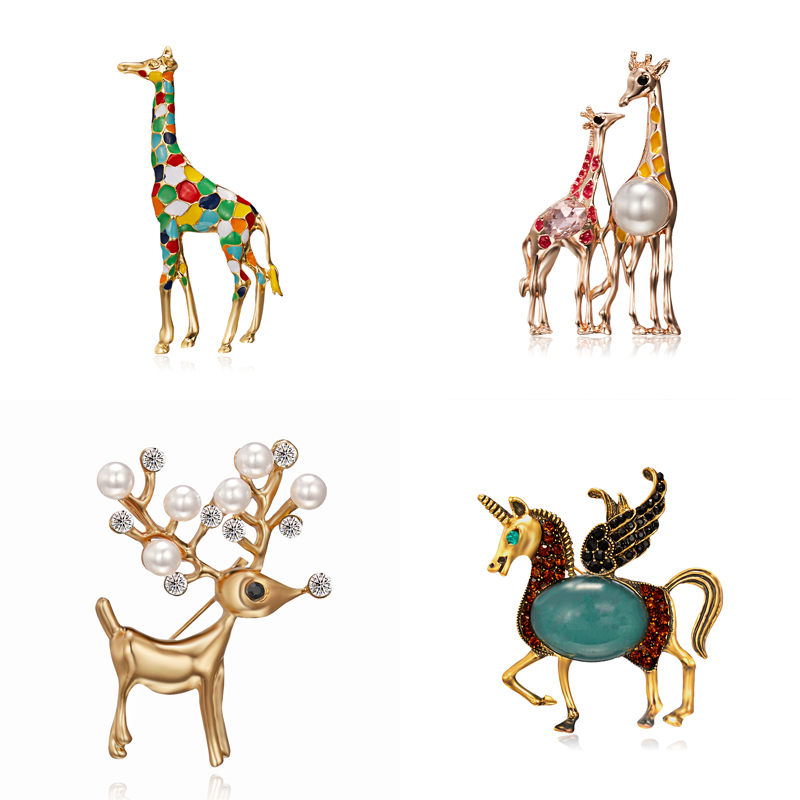 Horse-Brooches Jewelry Giraffe Exquisite Women Enamel Gift Gold-Color Cute Animal