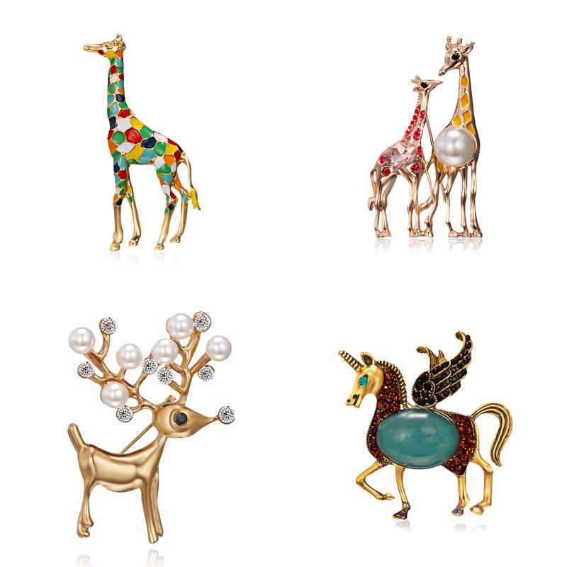 エナメルキリン馬ブローチ女性のためのかわいい動物ブローチピンファッションジュエリーゴールドカラーのギフト子供のための絶妙な Broches