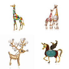 Enamel Giraffe Horse Brooches for Women Cute Animal Brooch Pin Fashion Jewelry Gold Color Gift For Kids Exquisite Broches(China)