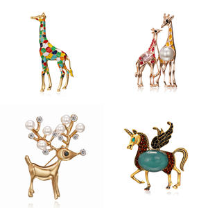 Enamel Giraffe Horse Brooches for Women Cute Animal Brooch Pin Fashion Jewelry Gold Color Gift For Kids Exquisite Broches
