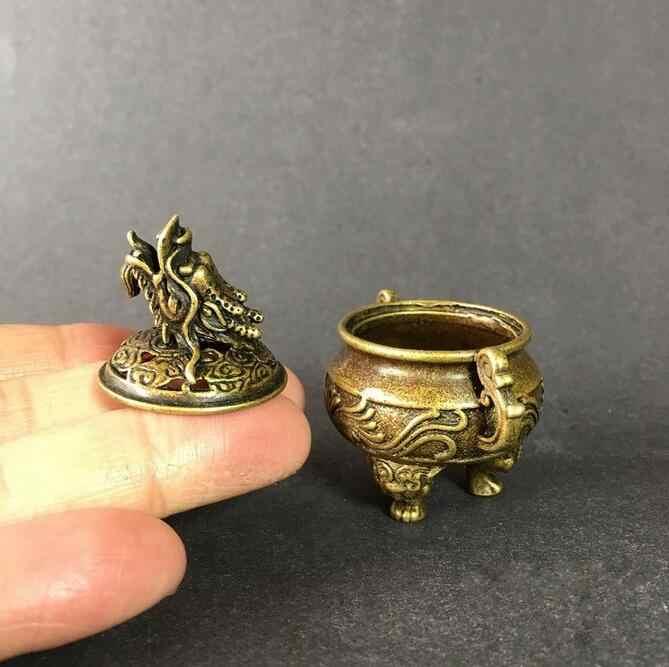 ทองแดงรูปปั้นสะสมจีนทองเหลืองแกะสลักสัตว์รูปแบบมังกรสามเท้าธูป Burner Censer ประณีตขนาดเล็กรูปปั้น