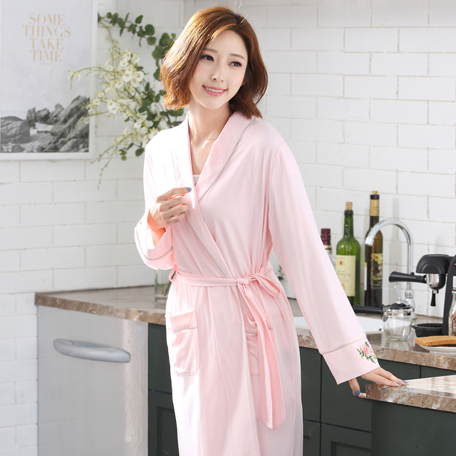 72c8247da80f Pink Newest Women Kimono Bathrobe Bridesmaid Wedding Robe Solid Color Night  Gown Cotton Modal Sleepwear Plus Size M