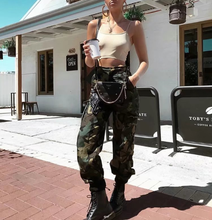 2018 new high waist cargo pants women camouflage sweatpants joggers chain camo girls trousers with streetwear