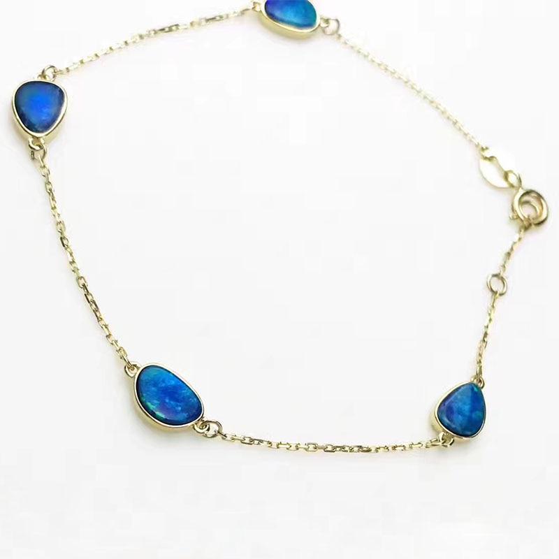 ANI 18K Yellow Gold Fahshion Women Bracelet Natural Opal Fine Color Gemstone Jewelry for Women Romantic Engagement Bracelet Gift gorgeous faux opal bracelet for women