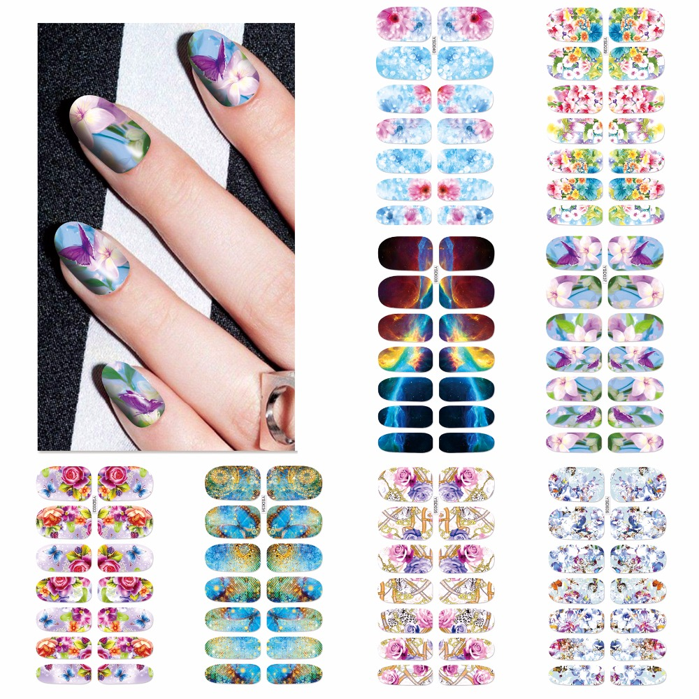 YZWLE 1 Sheet Optional Blooming Flower Full Wraps Nail Art Water Transfer Nails Designs Nail Sticker Decals