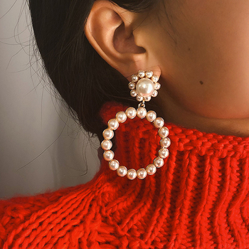 Trendy Crystal Round Pendant Pearl Drop Earrings For Women