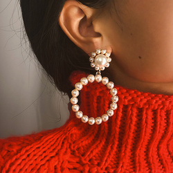 AENSOA Trendy Crystal Round Pendant Drop Earrings For Women Fashion Pearl Charm Statement Jewelry Wedding Earrings Female 2020