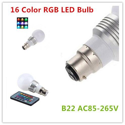 10 pièces LED Super lumière B22 LED RGB 5 W 16 couleurs changement lampe ampoule + 24 clé IR télécommande