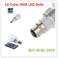 10PCS LED Super Light B22 LED RGB 5W 16 Colors Change Lamp Light Bulb+24 key IR Remote Controller