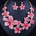Flower shape full rhinestones Necklace and earrings, Fashion Wedding party jewelry sets