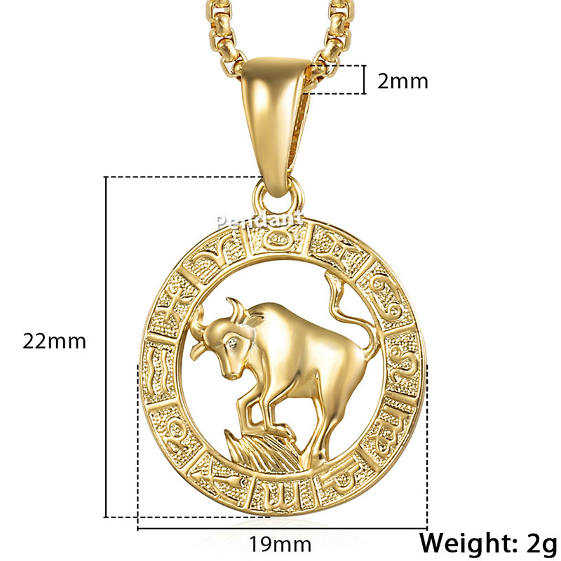 Zodiac Sign Gold Medallion Chain Necklaces 12 Variants: Dropwow Men's Women's 12 Horoscope Zodiac Sign Gold